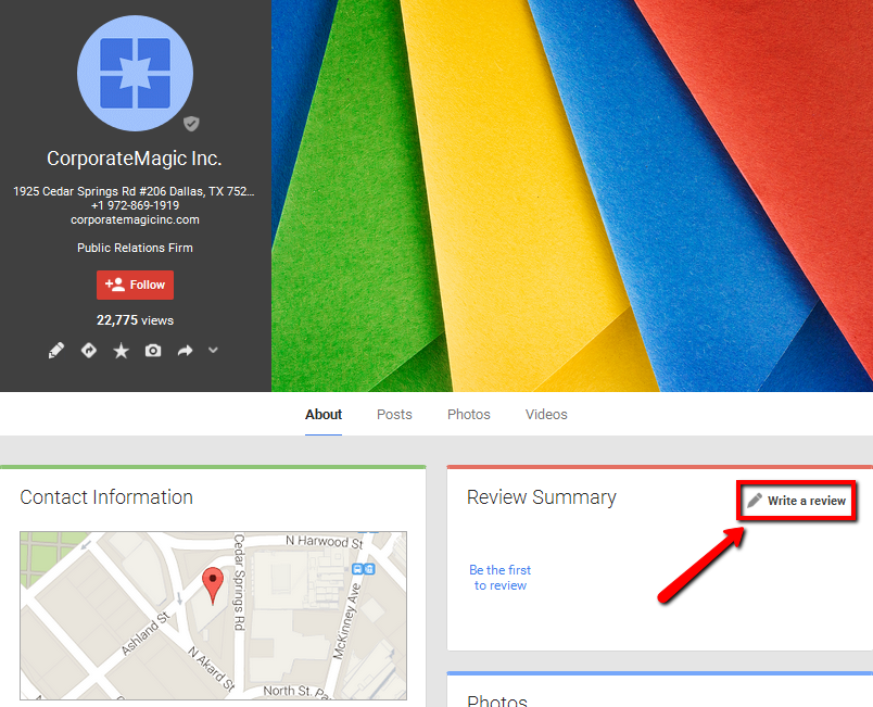 How to write a review on Google+